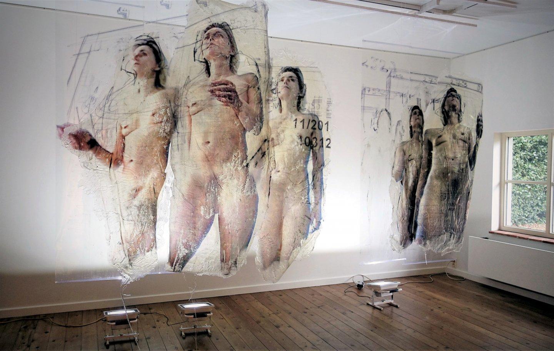 Galerie Benjamin Eck München natürliche Polymere, Polyesther, Fototechnik, Acrylfarbe, Nylonschnüre