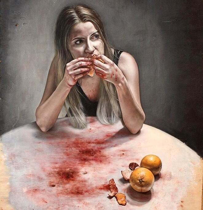 Galerie Benjamin Eck München Juliette Nicaise, Bloody Fruit, 2018, Oil on wood, 82 x 138 cm