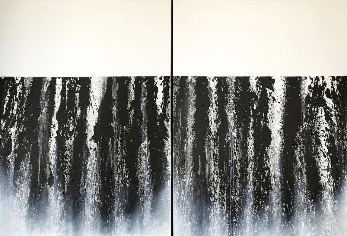 Galerie Benjamin Eck München Black lava pigment on canvas