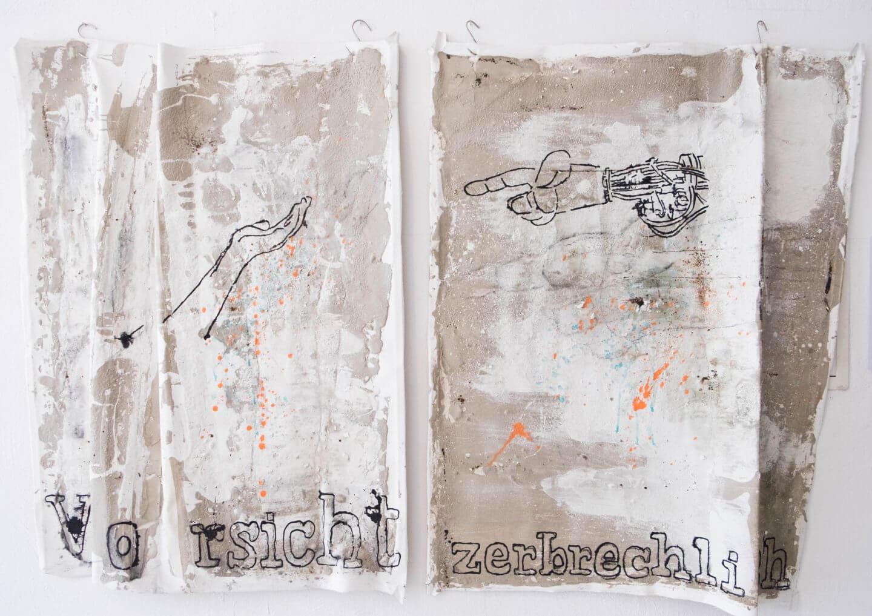 Galerie Benjamin Eck München concrete, cement, mordant, bitumen, acryl on canvas
