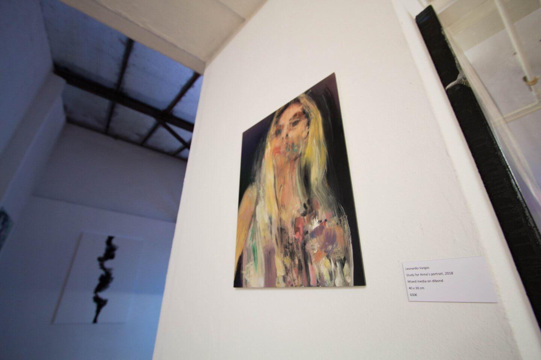 Galerie Benjamin Eck München Leonardo Vargas, Study for Anna's portrait, 2018 Mixed media on dibond, 40 x 30 cm