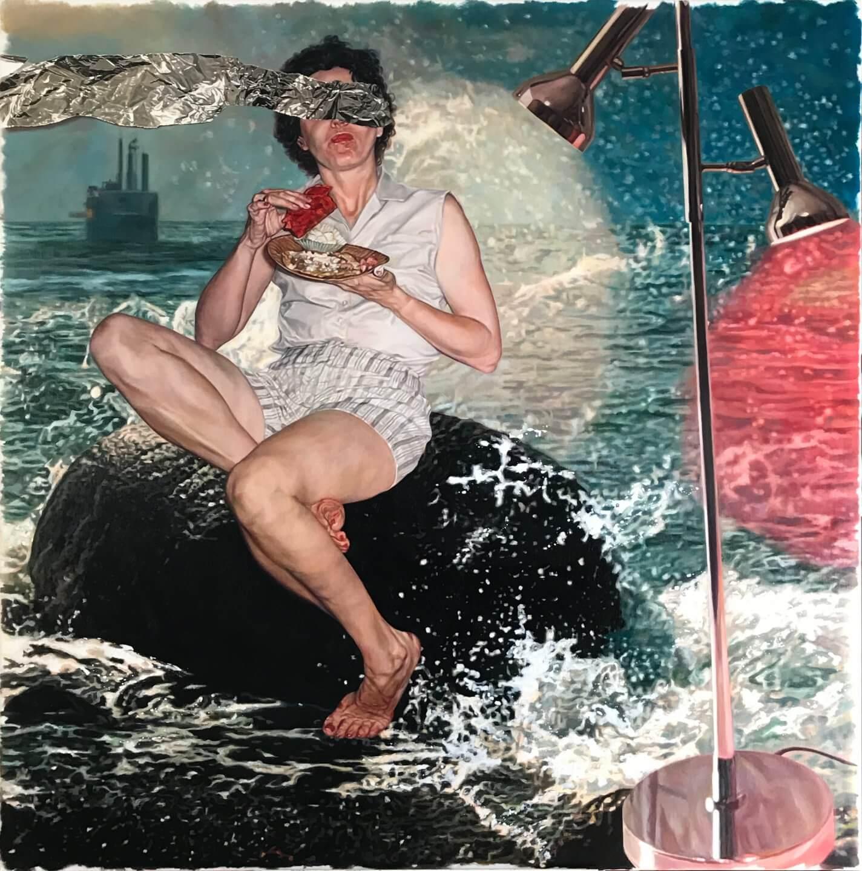Galerie Benjamin Eck München Öl, Glitzer auf Leinen