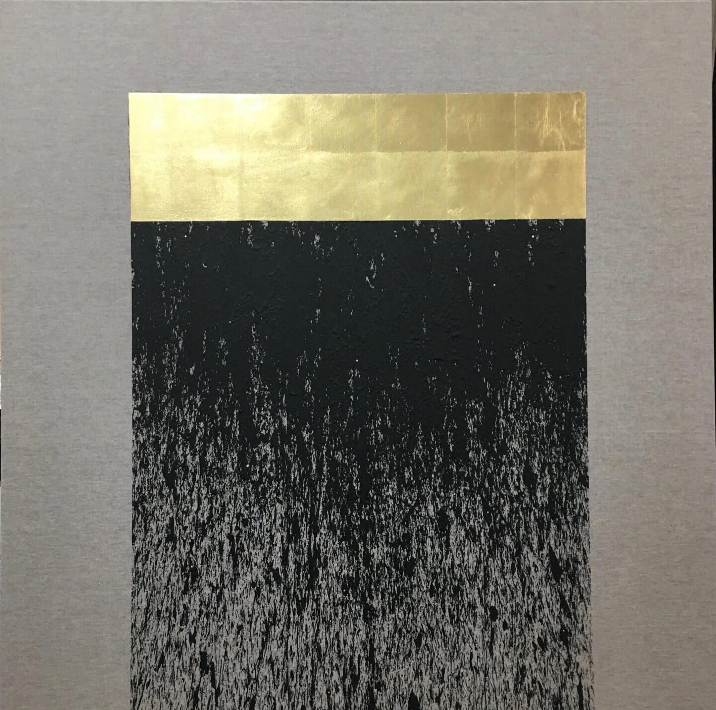 Galerie Benjamin Eck München Black lava pigment and gold leaf on linen