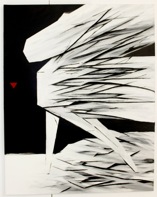 Galerie Benjamin Eck München SAFFET COKGEZEN 'One Step', acryl, chalk primer, chalk on canvas, 90cm x 70cm, 2017