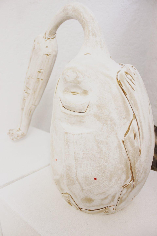 Galerie Benjamin Eck München IVAN LARDSCHNEIDER 'Schwerer Kopf', limewood, 50cm x 50cm x 20cm, 2017