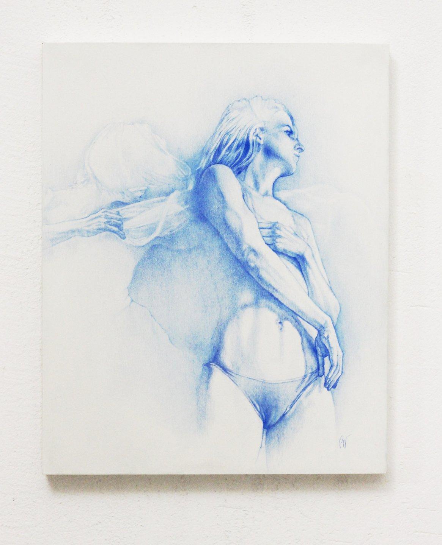 Galerie Benjamin Eck München DAAN NOPPEN 'Adrift', blue pencil on wood panel', 24cm x 30cm x 2,2cm, 2017